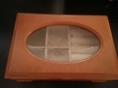 Vintage Wooden and Flower Glass Small Jewelry Box 6 1/4 x 4 1/4 x 2