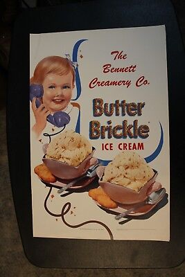 Butter Brickle Bennett's Creamery Ottawa KS Kansas Poster Vintage original Sign