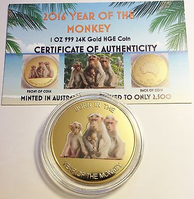 """NEW 2016 """"YEAR OF THE MONKEY"""" 1 Oz Coin HGE 999 24K Gold Edition COA Great Gift"""
