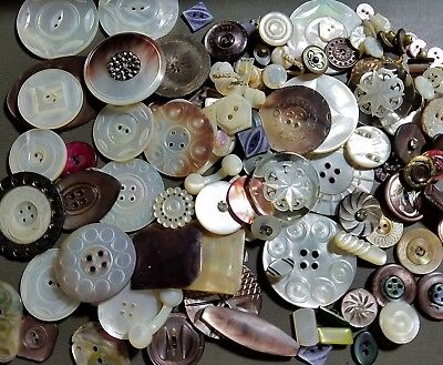 #5B Huge Lot 110+ Victorian Abalone Pearl Sm-Lg Collection Spindle Sq Buttons