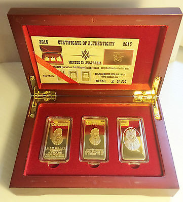 """NED KELLY"" Set Of 3 x 10grm Ingots With Display Box Finished in 999 Gold LTD"