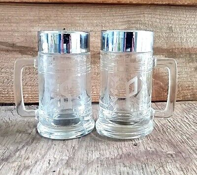 Vintage Etched Glass  Salt and Pepper Shakers Hong Kong Large Beer Mugs Clear