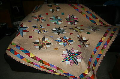 "Hand Made Quilt ""VIVACIOUS"" Design by Quilt-Addicts 76"" square"