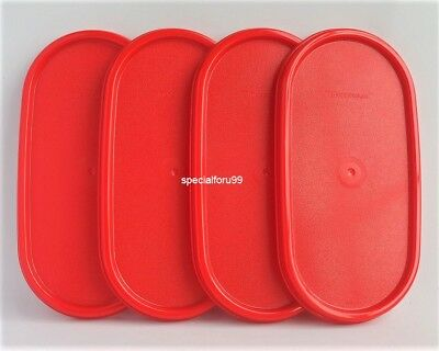 4 NEW Tupperware Modular Mates Oval Lid Chili Red Replacement Seal Cover MM 1616