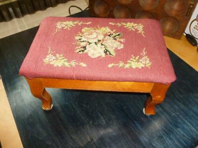 Vintage Wood Needlepoint Flowers Foot Stool Rest