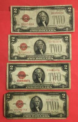 1928D-1928G $2 RED US Deuces SEt of 4 Legal Tenders X615 Rough! Old Currency