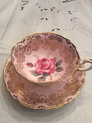 Vintage Paragon Tea Cup And Saucer Pink & Gold, Rose Center