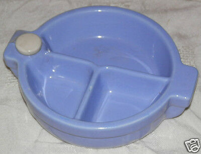 """71/2"""" Child's Ceramic Warming Dish with Seperate Sections - Light Blue"""