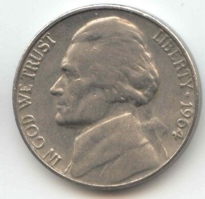USA 1964 American Nickel Five cent piece 5c 5 Cents Jefferson Exact Coin