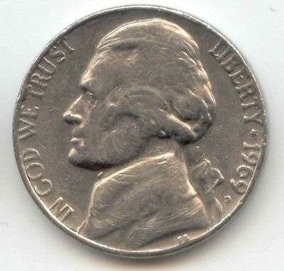 USA 1969D American Nickel Five cent piece 5c 5 Cents Jefferson 1969 D Exact Coin