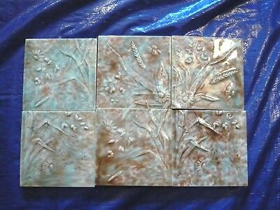 Antique Trent Tile Victorian 6 Pc  Majolica Floral Fireplace Tiles
