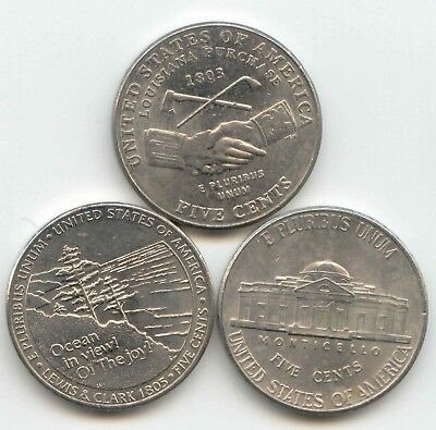 USA 2004 2005 + 2006 D American Nickel Set Five cent x3 5c 5 Cents Nickels