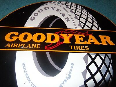 """Vintage Goodyear Airplane Tires 11 3/4"""" Porcelain Metal Gas Oil Sign Winged Foot"""