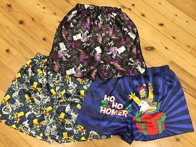 3 pairs of Mens Boys Simpsons satin boxer shorts - various sizes