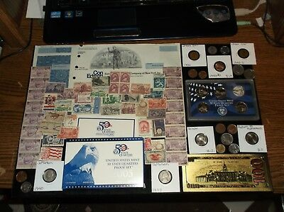 HUGE JUNK Drawer Coin Lot Proof Coins+Old Stamps+Old+Stock+SILVER+Wheat Ears