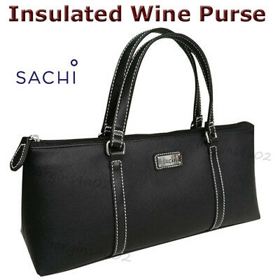 Sachi Wine Bottle Insulated Cooler Bag Tote Carrier Purse Handbag - Black New