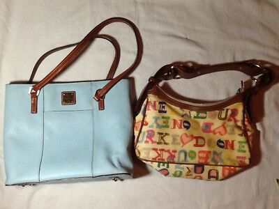 dooney&bourke lot of 2 med size multicolored canvas coated/leather shoulder bags