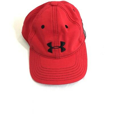 Under Armour Red Heat Gear Hat/Ballcap Youth OS Adjustable Strap Logo Vented