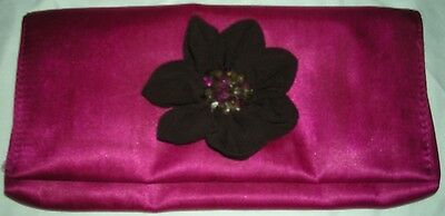 New AVON Pink with Brown Floral Flower Gemstone Clutch Cosmetic Accessory Bag