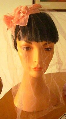 1960,s pink floral headpiece with veil