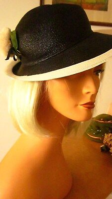 1960,s breton style navy/white straw hat with fab trim by Camelot