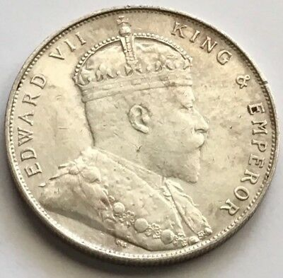 1907 Straits Settlements $1 One Dollar Silver Coin (S410)