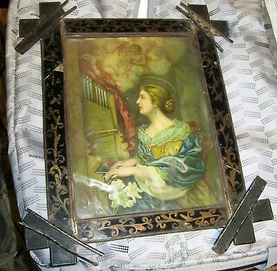 Antique Tin Nicho With An Antique Color Print Of Saint Cecilia With Glass Front