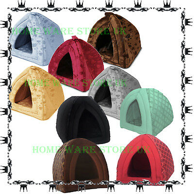 Small Large Pet House Soothed Comfortable Cat Dog Igloo Bed Pad cushion Home Hut