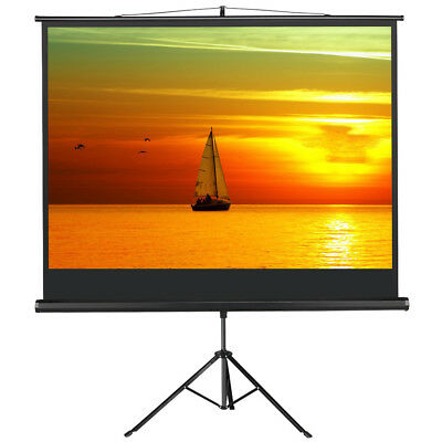 86'' 4:3 Portable Projector Screen with Tripod Stand Pull Down Cinema Black