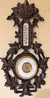 Antique Walnut Wood Carved Wall Barometer Thermometer 1890