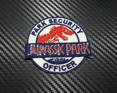 Embroidered Patch Iron Sew Logo Jurassic Park Movie Security Badge