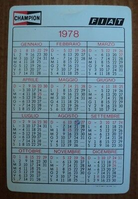 Fiat Champion Calendario Tascabile 1978 Pubblicitario