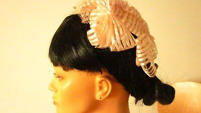"""1950,s pink glace straw """"bow"""" hat with veiling.Preloved"""