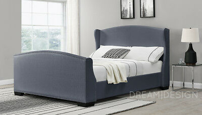 Sleigh Bed Wing Back Linen Fabric Double Or King Size White Or Dark Grey