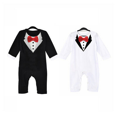 1pc Newborn Baby Boys Formal Tuxedo Suit Romper Bodysuit Jumpsuit Fashion Cotton