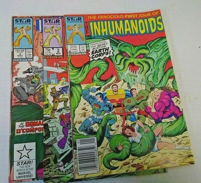 lot of 3 Star Comics Inhumanoids 1, 2 and 3 First Three Issues 1987 Marvel