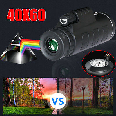 40X60 Zoom Optical HD Lens Monocular Telescope+Tripod+Clip for Cell Mobilephone