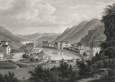 BAD EMS - Ansicht - Aquatinta um 1860