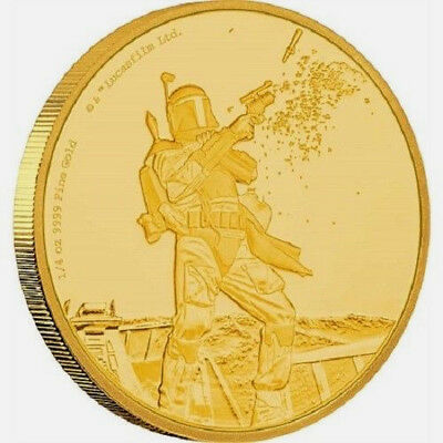 Niue - 2017 - Gold $25 Proof Coin - 1/4 oz Gold Coin Star Wars Classic: Boba Fet