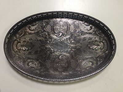 A Vintage Silver Plated Galleried Tray by Haseler & Restall Sheffield
