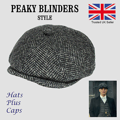 Peaky Blinders Style Grey Herringbone 40% Wool Newsboy Flat Cap Gatsby Panel Hat