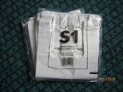 White vest carrier bags super strong 7 x 13 x 15 inches