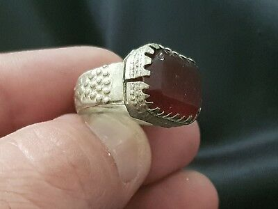 Medieval Silvered Ring With Red Stone Rare.7.8 Gr.21 Mm 19 Mm Inner