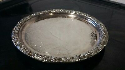 Victorian style silver plated sheffield chased footed drinks tray
