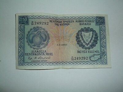 1968 Central Bank Of Cyprus 250 Mil Bank Note, D/16 249292
