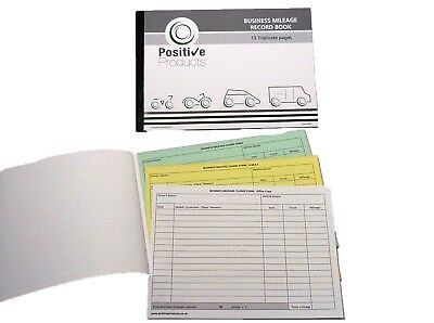 Triplicate Mileage Record Book HMRC Compliant 13 Pages Mileage Log Pad