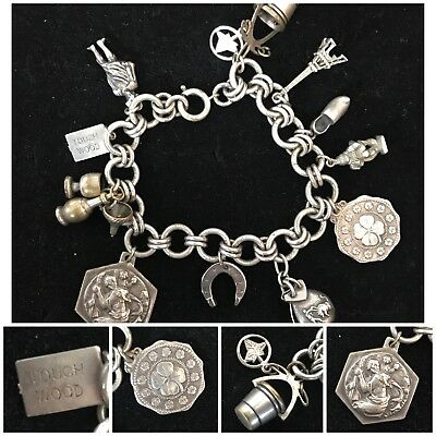 Vintage Antique Sterling Silver Charm Bracelet with Lucky Charms 58g