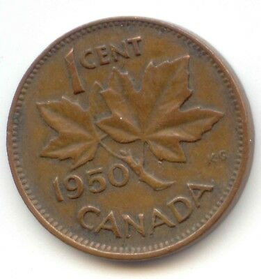 Canada 1950 Canadian PENNY one cent King George VI 1c ~ Exact Coin Shown ~