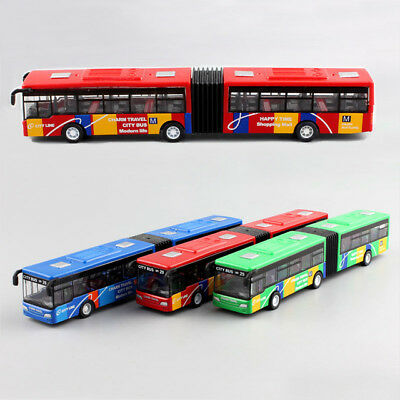 City Bus Public Transit Metro Toy Model Alloy Gift Diecast Collectable Long