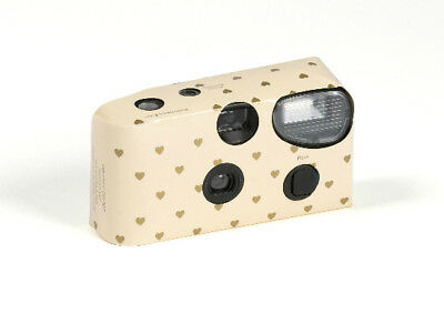 Disposable Camera with Flash Favour Accessory Ivory with Gold Heart Design